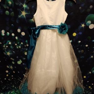 White and teal flower girl dress size 12